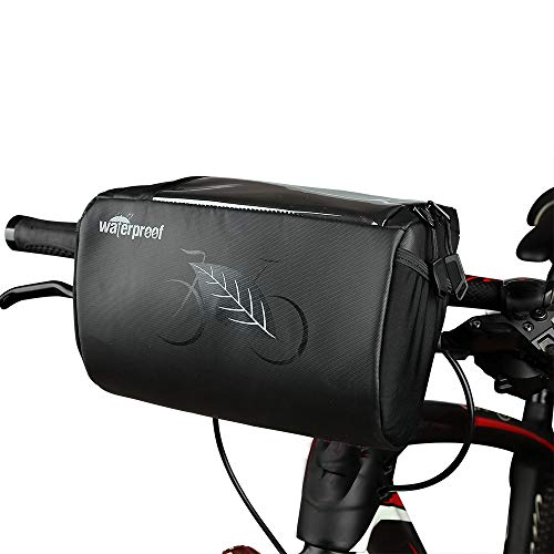 UiiziC Bike Front Basket Frame Handlebar Bag Waterproof Phone Touch Screen Holder Bicycle Pack with Two Pockets