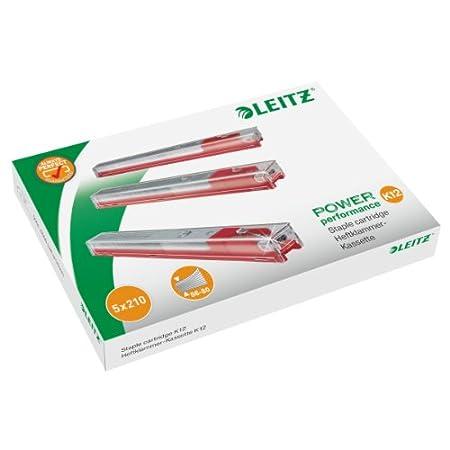 Leitz Cassette d'agrafes K6, Longueur 6 mm, 1050 Pièces, Agrafe jusqu'à 25 Feuilles, Fil Acier Résistant, 55910000