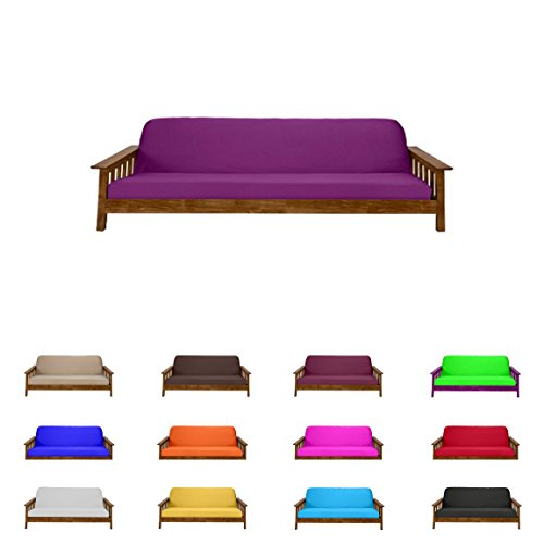 Futon Mattress Cover Solid Color Choose Color and Size Twin Full Queen (Full (6'x54'x75'), Purple)