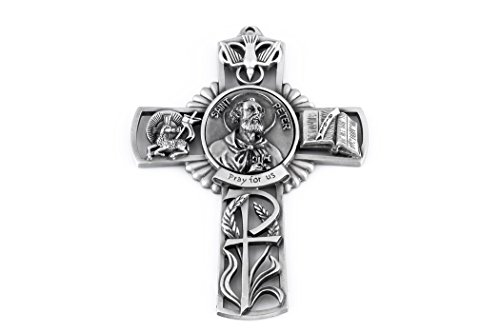 Pewter Catholic Saint St Peter Pray for Us Wall Cross, 5 Inch