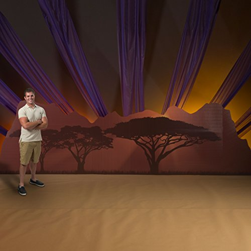 5 ft. 6 in. Wild Jungle Safari Dreams Mountain Silhouette Standup Photo Booth Prop Background Backdrop Party Decoration Decor Scene Setter Cardboard Cutout