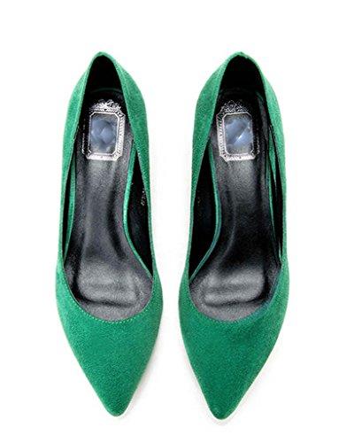 green appuntita CAMSSOO donna Punta velveteen qHn4U6