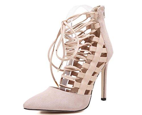 Strap Acentuados Mujer DANDANJIE Talla Albaricoque Negro de 40 Alto de caseros Albaricoque 35 Hollow Zapatos Summer Heels Zapatos tacón Zapatos High q8O8xwX