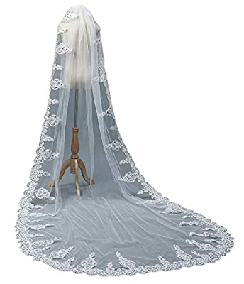 1 Tier Bridal Wedding Veil Lace Applique Sequin Full Length by Sparkly Crystal White