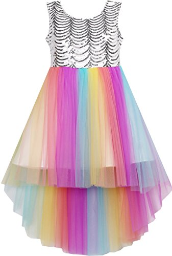 HJ41 Girls Dress Sequin Mesh Party Wedding Princess Rainbow Tulle Size 7 -