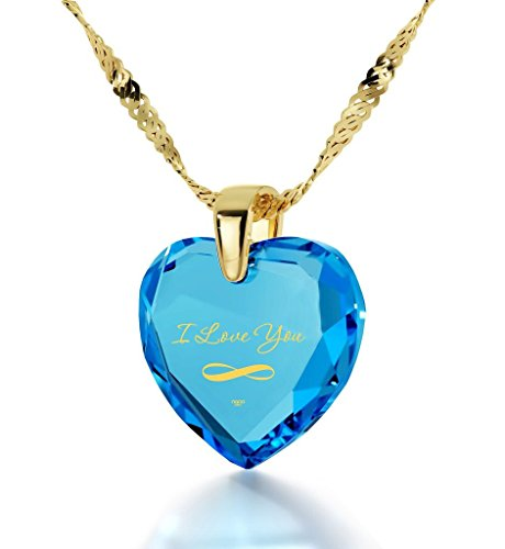 Gold Plated Infinity I Love You Necklace Heart Pendant 24k Gold Inscribed Blue Cubic Zirconia Stone, 18