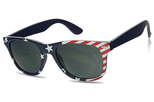 USA American Flag Sunglasses Stars and Strips Wayfarer Style Patriot Colored Shades (USA Front - Little Eyeglasses Rock