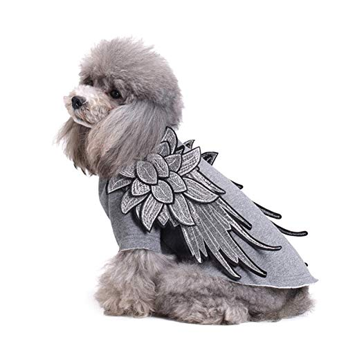 ELOT Dog Clothes for Small Dogs Vest Harness Two-Legs Shirt Angel Wings Embroidered Pet Costumes