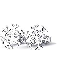 925 Sterling Silver Simple Polished Winter Snowflake Flower Elegant Stud Earrings