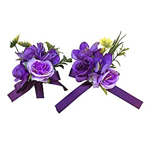 Abbie Home Prom Wrist Corsage Brooch Boutonniere Set in Purple and Lavender Rose Flower for Wedding Party 63