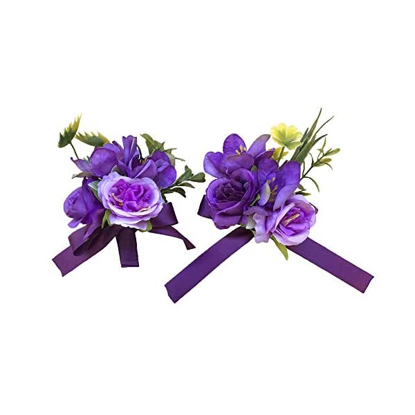 Abbie Home Prom Wrist Corsage Brooch Boutonniere Set in Purple and Lavender Rose Flower for Wedding Party