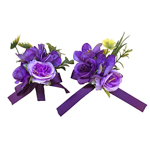 Abbie Home Prom Wrist Corsage Brooch Boutonniere Set in Purple and Lavender Rose Flower for Wedding Party ()