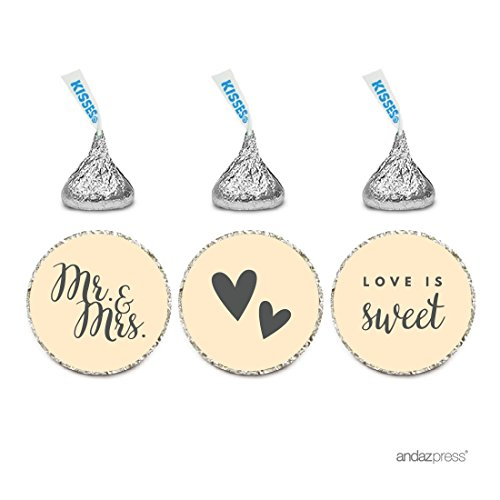 Andaz Press Chocolate Drop Labels Trio, Fits Hershey's Kisses, Wedding Mr. & Mrs., Ivory, 216-Pack, For Bridal Shower, Engagement Party Favors, Gifts, Stationery, Envelopes, Decor, Decorations
