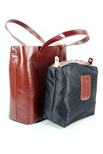 ital Leder Handtasche Damen Ledertasche Umhängetasche schwarz - 41x32x15 (B x H x T) Belli PbwBeEO