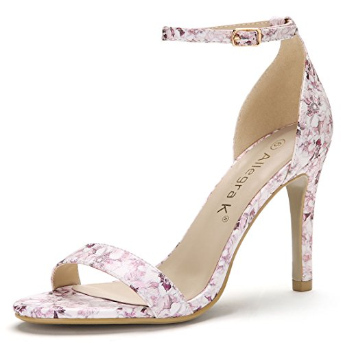 Allegra K Women's Floral Stiletto Ankle Strap Sandals (Size US 9) Light Purple