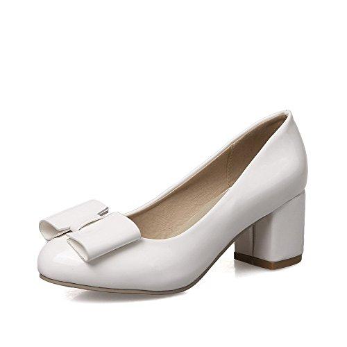 VogueZone009 Damen Rund Zehe Mittler Absatz Weiches Material Rein Ziehen auf Pumps Schuhe, Weiß, 40