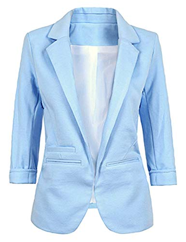 Unicolor 3 Cardigan Blazer Capispalla Autunno West Formale maniche Slim Donna 4 Suit Cappotti Betrothales Blau Bavero Business Fit Suit xZPnwW