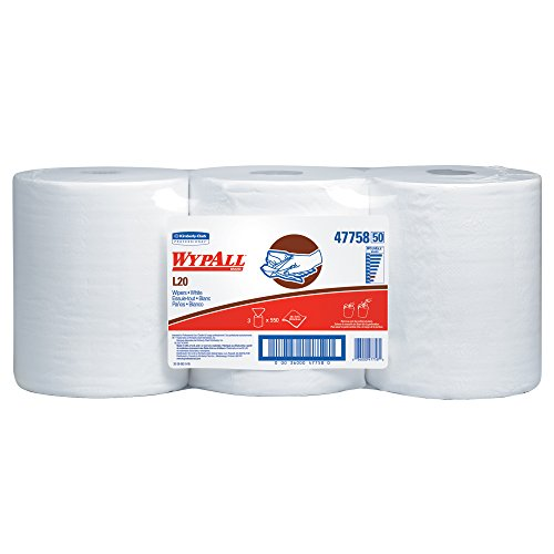 WypAll L20 Limited Use Towels (47758), Center-Pull Rolls, White, 2-Ply, 3 Rolls, 550 Wipes / Roll