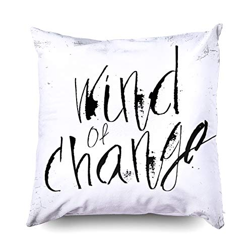 Shorping Kid Pillow Covers, Zippered Covers Pillowcases 16x16 Inch Throw Pillow Covers Vector Hand Drawn Wind of Change in Calligraphy Brush for Home Bedding