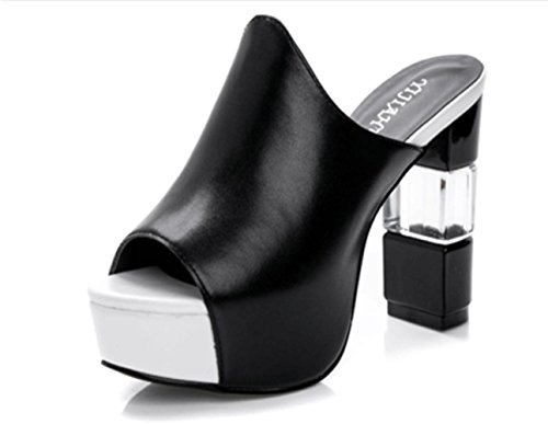 YCMDM Damen Sandalen Sommer Sandalen PU Casual Chunky Ferse Schwarz Weiß , black , us8 / eu39 / uk6 / cn39