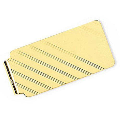 Engraved Striped Design Money Clip Plain Metal 14k Yellow Gold by TheJewelryMaster