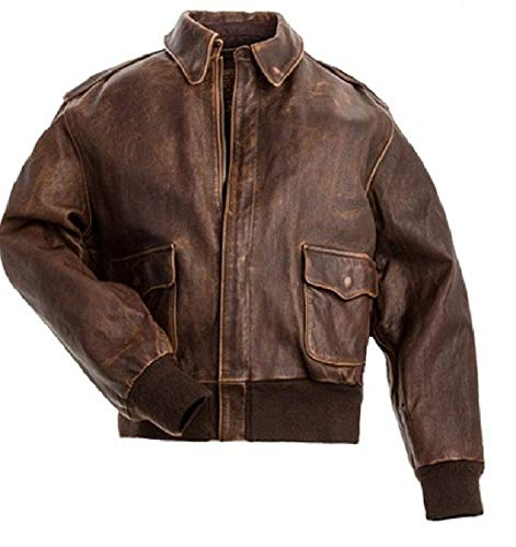 SHOQZ FASHIONZ Men's Air Force A-2 Brown Disstressed Real Leather Flight Bomber Jacket (XL)