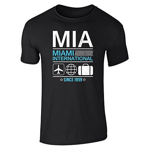 Pop Threads MIA Miami Airport Code Since 1959 Travel Black L Short Sleeve T-Shirt - International Airport Miami Shops