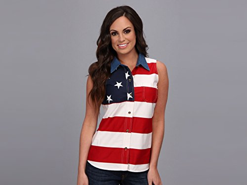 Roper Women's Sleeveless American Flag Shirt Patriotic X-Large