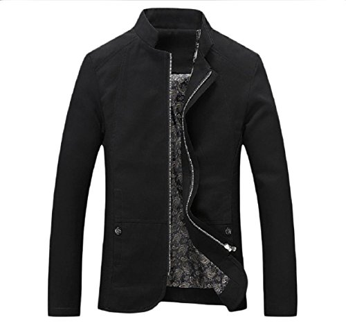Men Jackets Collar Fit Black Cotton Mandarin 100 XINHEO Casual Heavy Zip 4qw4gC