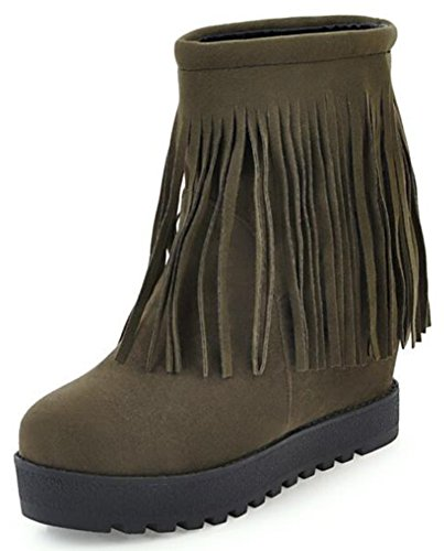 IDIFU Womens Vintage Fringes Mid Wedge Hidden Heels Platform Faux Suede Pull On Ankle Boots Green