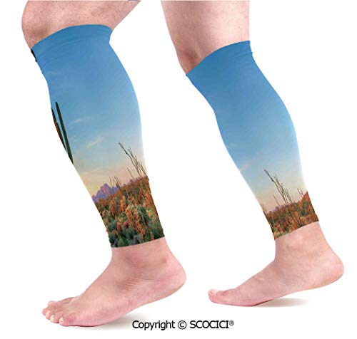 Flexible Breathable Comfortable Leg Skin Protector Sleeve Sun Goes Down in Desert Prickly pear Cactus Southwest Texas National Park Calf Compression Sleeve
