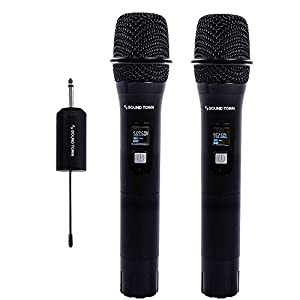 Sound Town 20-Channel UHF Wireless Microphone System with Mini Portable Receiver, 1/4″ Output, 2 Aluminum Handheld Microphones for Church, Business Meeting, Outdoor Wedding and Karaoke (SWM01-U2HH)