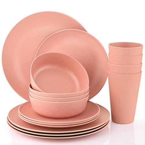 Dinnerware Set, 16 Piece Bamboo Tableware Set Anti-bacterial Eco Friendly Degradable Materials Bamboo Kids Dinnerware Sets (Pink)]()