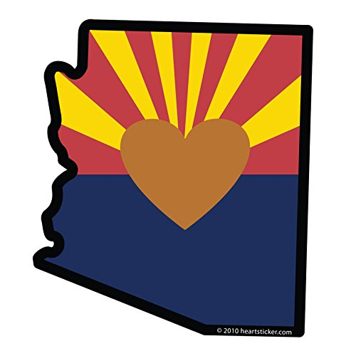 Heart in Arizona Sticker with Arizona Love - 100% Vinyl - Used on all flat hard smooth clean surfaces - Super Adhesive - Outdoor & Indoor Use - Waterproof - Weather & UV (Us Postal Jeep)