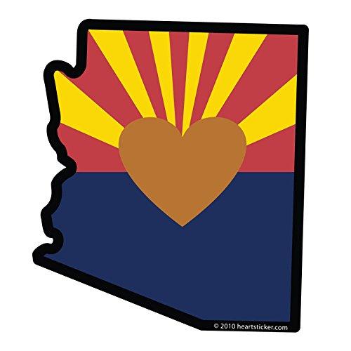 (Arizona Sticker - Heart in AZ Vinyl, Die-Cut, 4 inch, Decal & Gift. Perfect for Water Bottle, Laptop, Cooler and Bumper, All-Weather Waterproof, Outdoor & Indoor.)