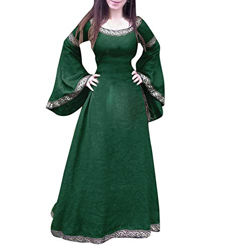 Halloween Women Medieval Dress Renaissance Lace Up Vintage Style Gothic Dress Floor Length Women Hooded Cosplay Dresses Retro (ZD_Green, M) for $<!--$25.46-->