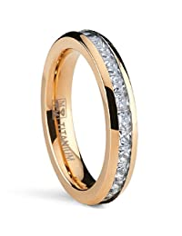 Metal Masters Co.® 4MM Rose Gold Plated Princess Cut Women's Eternity Titanium Ring Wedding Band with CZ
