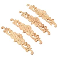 MUXSAM 4pcs 20x5cm Wood Carved Long Onlay Applique Unpainted Rose Flower Door Home Decor European Style