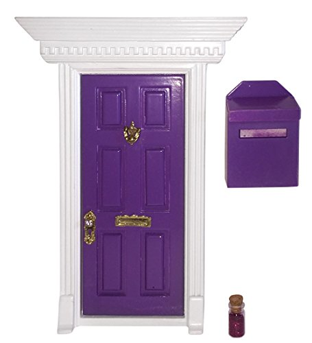 Enchanted Fairy Door (Purple) Mailbox and Magic Dust Gift Set Tooth Fairy or Elf -