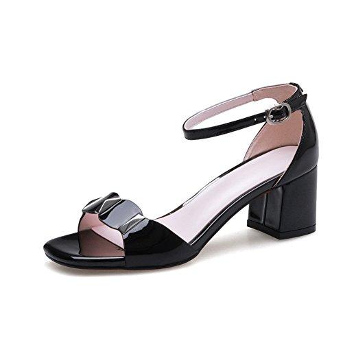 BalaMasa Womens Peep-Toe Chunky Heels Peep-Toe Pleather Sandals Black 9T2Mb7CBGT