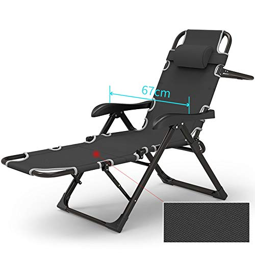 (ZR- Folding Sun Lounger Foldable Deck Chair Adjustable Office Nap Bed Garden Reclining Chair Outdoor Patio Camping Beach Chair with Pillows)