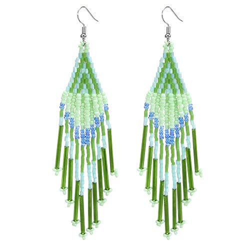 Royalbeier Beaded Earrings Oversized Handmade Seed Beaded Drop Earrings Long Beaded Navajo Indian Dangle Earrings for Women ()