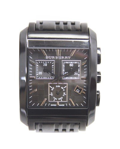 Burberry Men's BU1563 Square Grey Chronograph Dial Black Bracelet Watch by BURBERRY (Image #2)