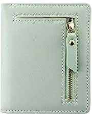 Favydov Compact Mini Purse with Zipper Pocket PU Leather Bifold Small Slim Wallet for Women Light Green