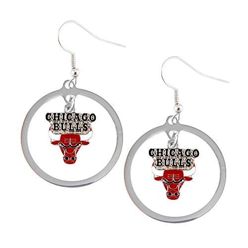 NBA Chicago Bulls Floating Logo Hoop Earrings (Chicago Bulls Earrings For Men)