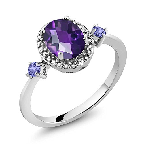 1.17 Ct Oval Checkerboard Purple Amethyst Blue Tanzanite 925 Sterling Silver Ring With Accent ()