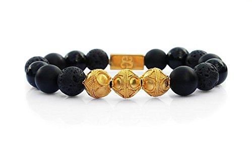 Men's Mixed Black Stone and 22 Karat Gold Vermeil Beads Bracelet; Onyx, Obsidian, and Lava Stone Bracelet, Men's Luxury Bracelet