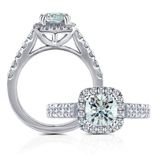 DovEggs Platinum Plated Silver Center 1ct 2.6mm Band Width 6X6mm Cushion Cut Moissanite Engagement Ring with Accents(5.5)