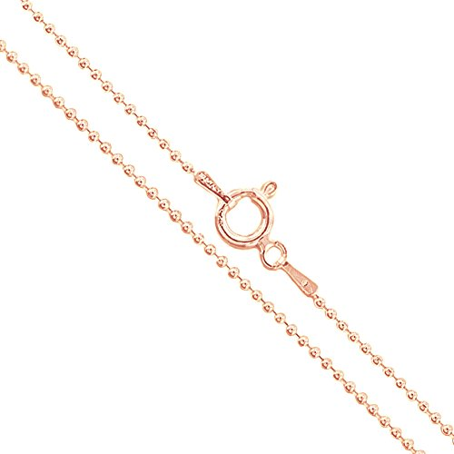 22k Rose Gold Plated Sterling Silver Ball Bead Chain 1.2mm 925 New Dog Tag Necklace (Gold Plated Ball Chain)
