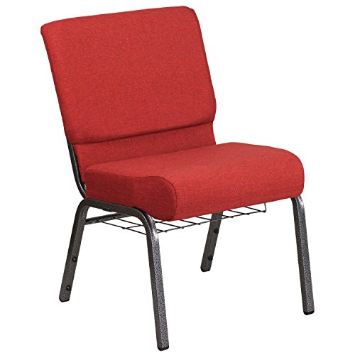 Flash Furniture HERCULES Series 21''W Church Chair in Crimson Fabric with Cup Book Rack - Silver Vein Frame
